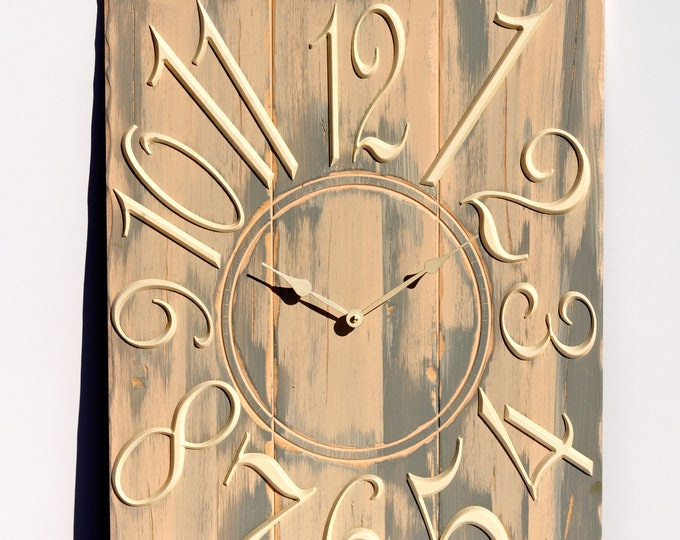 Rustic Pink and Grey 18x24 Inch Wall Clock