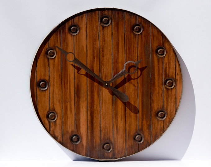 Rustic Brown 24 Inch Circle Wall Clock
