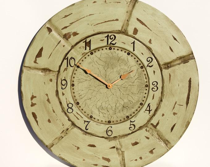 "Rustic 24"" Sea Green Wall Clock"