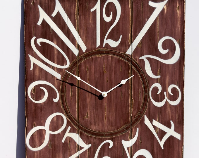 """24"""" x 30"""" Red Wine and White Wall Clock, Rustic Clock, Redish Brown Clock, Large Wall Clock, Oversized Wall Clock, Unique Wall Clock"""