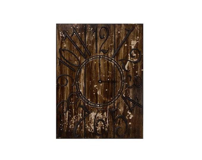 "18"" x 24"" Wall Clock, Custom Wall Clock, Steampunk Wall Clock, Splatter Wall Clock, Rustic Wall Clock, Large Wall Clock, Rectangle Clock"
