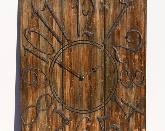 Rustic Dark Brown 18x24 Inch Wall Clock