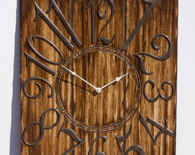 """Rustic 24""""x30"""" Brown Wall Clock, Wood Grain"""