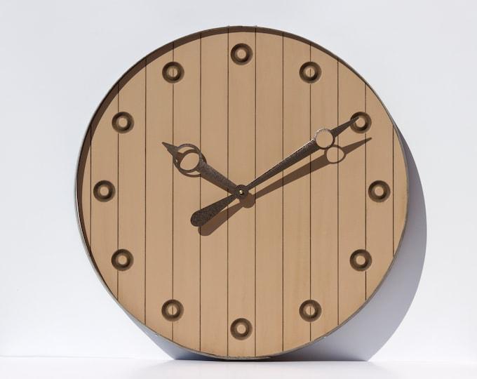 Light Brown 24 Inch Barrel Clock