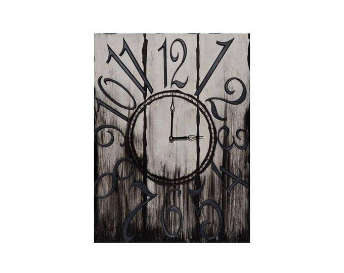 "18"" x 24"" Wall Clock, Rectangle Wall Clock, Black and White Wall Clock, Custom Wall Clock, Gradient Wall Clock, Rustic Wall Clock"