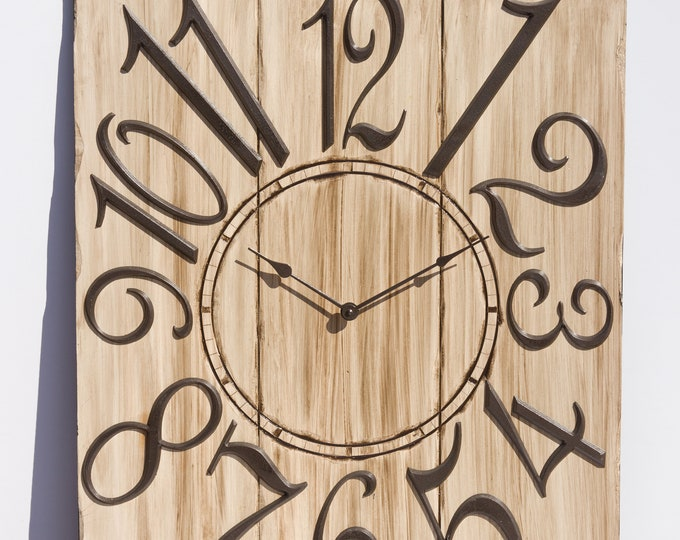 """24"""" x 30"""" Taupe and Burnished Amber Wall Clock, Painted Clock, Unique Clock, Large Wall Clock, Oversized Wall Clock, Rustic Wall Clock"""