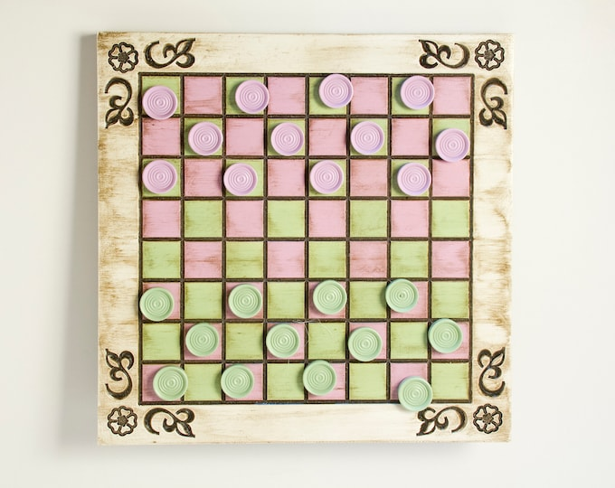 Unique Pink and Green Painted Checker Board