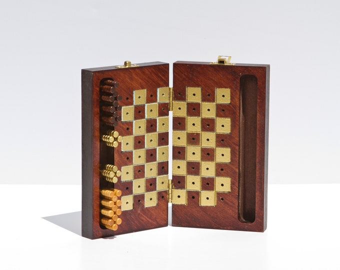 Beautiful Wood and Gold Painted Travel Checker Board