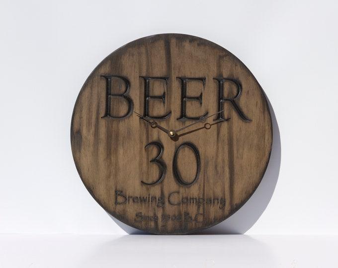 Brown Wooden 16 Inch Circle Wall Clock