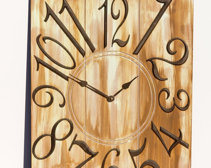 Unique Gold and White 18x24 Inch Rectangular Wall Clock