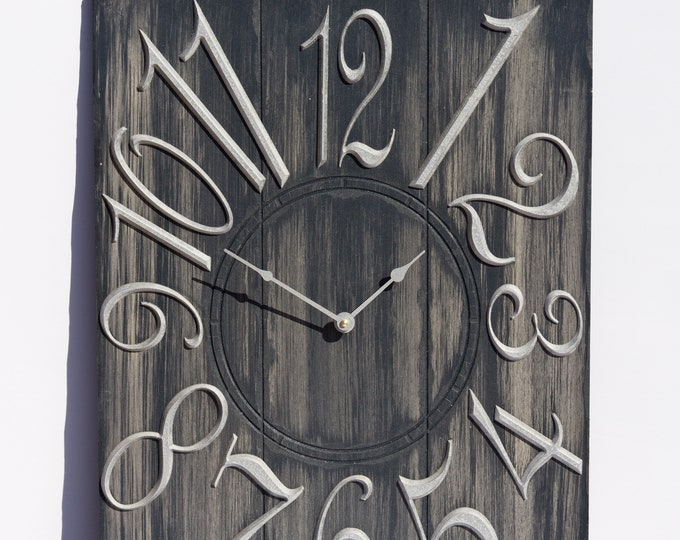 Grey and White 18x24 Inch Wall Clock, Painted Wall Clcck, Wood Grain, Rustic Clock, Rustic Wall Clock