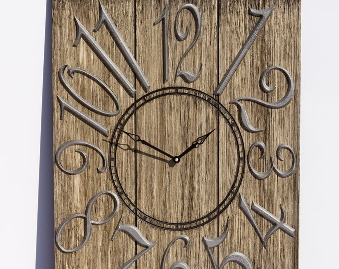 Rustic Dark Brown and Silver 18x24 Inch Wall Clock