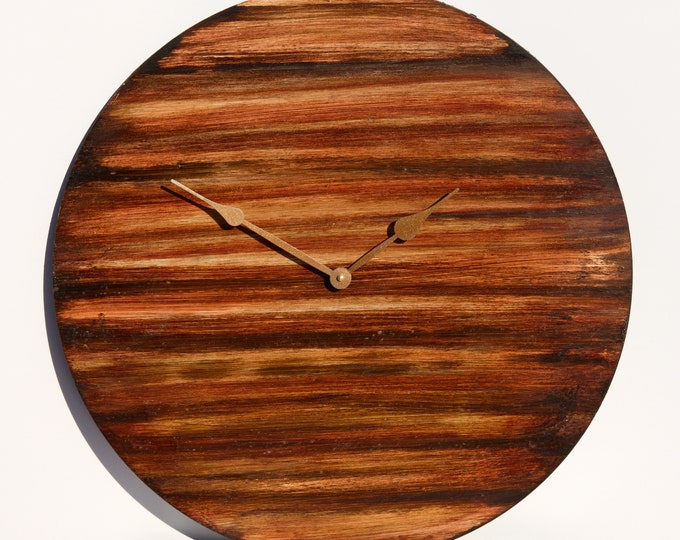"24"" Multi-toned Red and Brown Wall Clock"