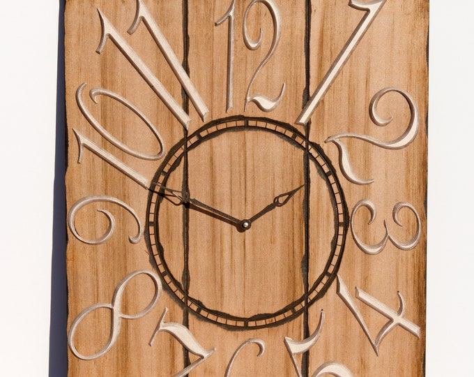 Rustic Light Brown 18x24 Inch Wall Clock With Silver Hands