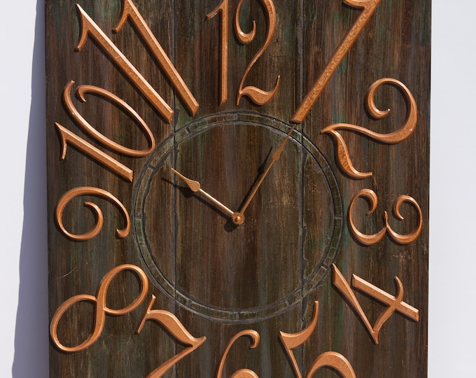 "24""x30"" Brown and Copper Wall Clock"