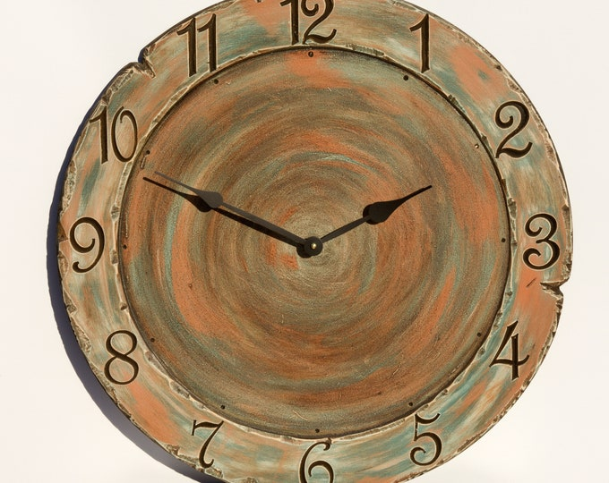 Green and Orange 24 Inch Rustic Circle Clock, Painted Clock, Artsy Clock, Swirl Clock, Wall Art, Wall Decor, Wood Clock