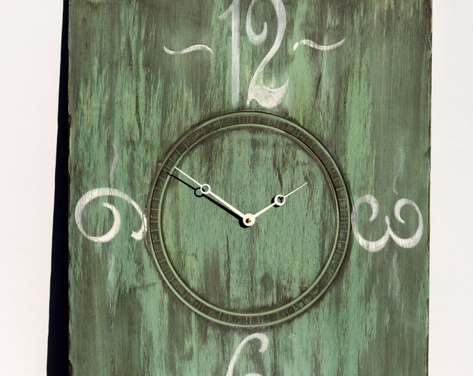 Pastel Green and White 18x24 Inch Wall Clock