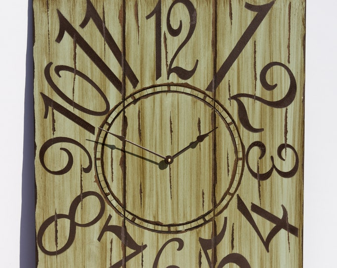 """Unique 24"""" x 30"""" Mint Green and Brown Wall Clock"""