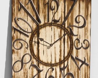 "24"" x 30"" Espresso and Lush Cream Wall Clock, Rustic Clock, Old Wood Clock, Barn Wood Clock, Weathered Clock, Large Wall Clock"