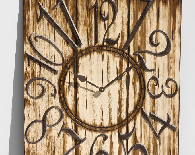 "24"" x 30"" Espresso and Lush Cream Wall Clock, Rustic Clock, Old Wood Clock, Barn Wood Clock, Weathered Clock, Large Wall Clock"