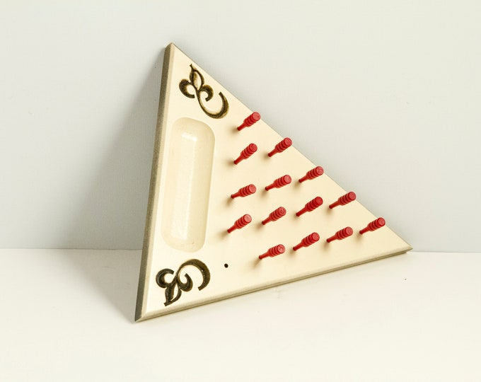 Modern Beige Painted Peg Game with Red Pegs