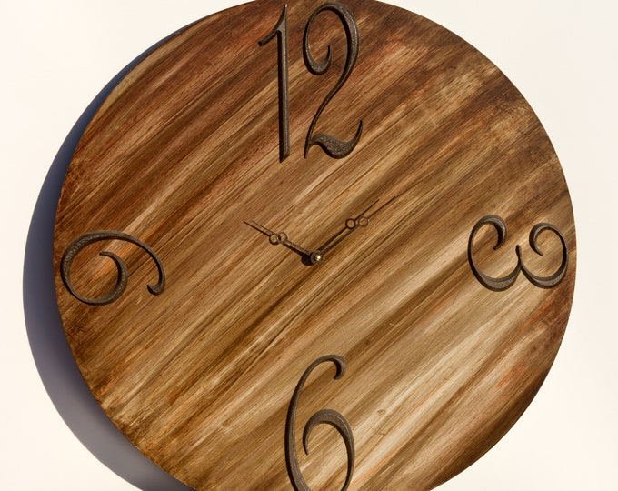 Classic Brown 24 Inch Circle Clock, Wood Clock, Painted Clock, Wall Clock