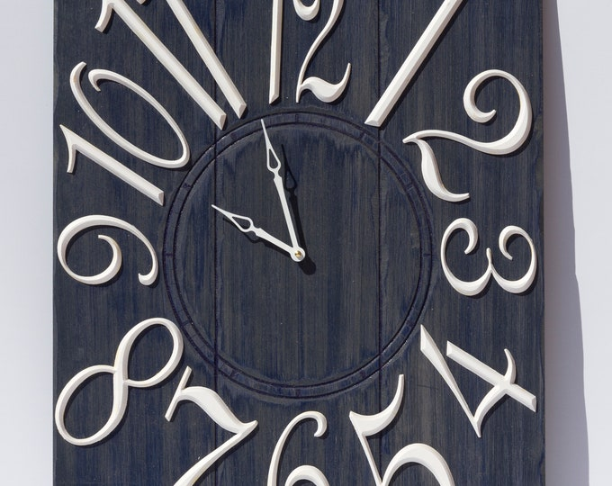 Rustic Dark Blue and White 18x24 Inch Wall Clock