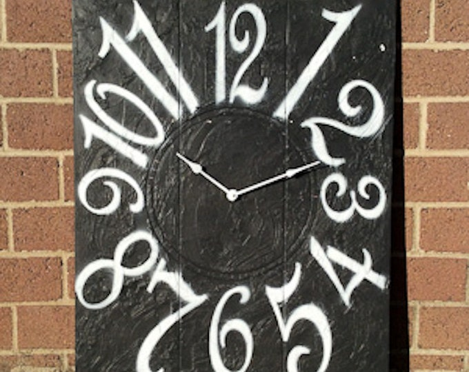 "24"" x 30"" Textured Charcoal Gray Wall Clock"