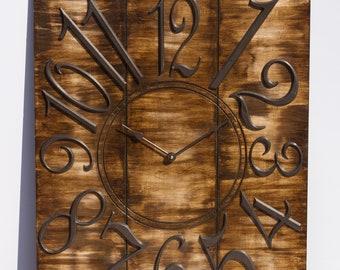 """Rustic 24"""" x 30"""" Wooden Wall Clock"""