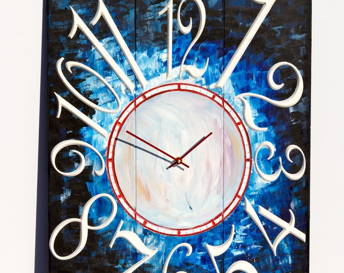 Unique Blue and Red Baseball Clock 18x24 Inch Wall Clock