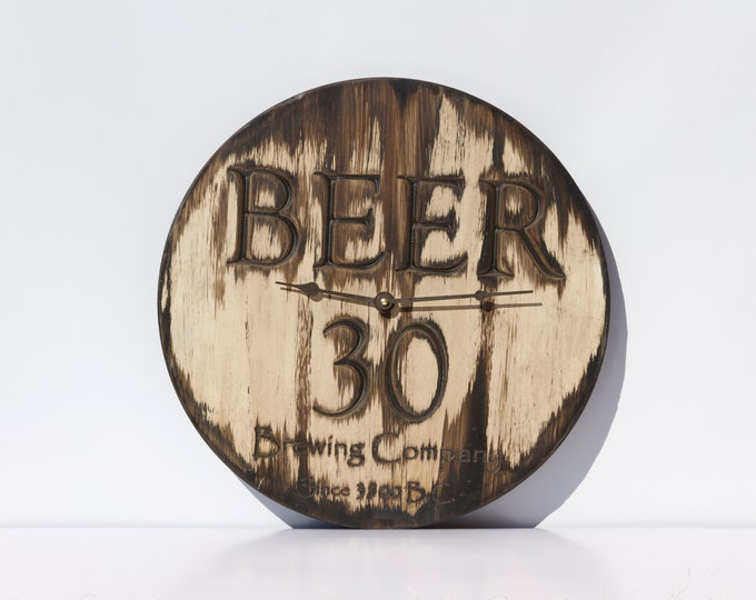 Unique Light Brown/Brown 16 Inch Beer 30 Clock