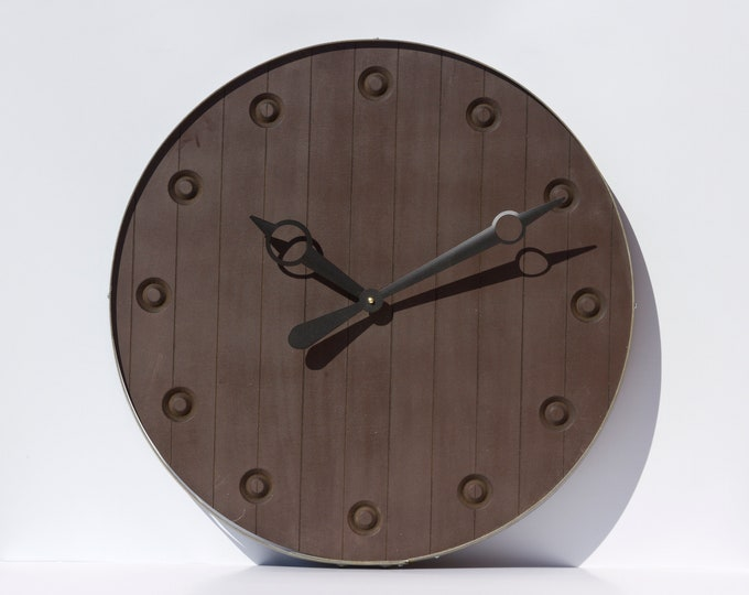 Rustic Dark Brown 24 Inch Barrel Clock