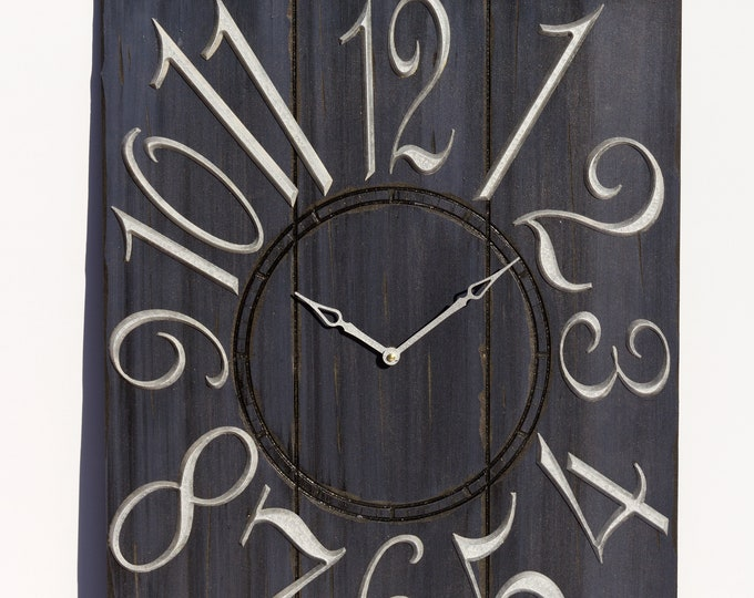 Dark Blue 18x24 Inch Wall Clock With White Hands and Numbers, Painted Wall Clcck, Wood Grain, Rustic Clock, Rustic Wall Clock