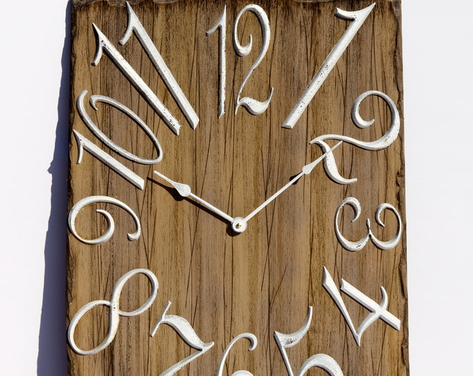 Rustic Brown and White 18x24 Inch Wall Clock
