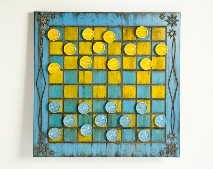 Beautiful Blue and Yellow Painted Checker Board