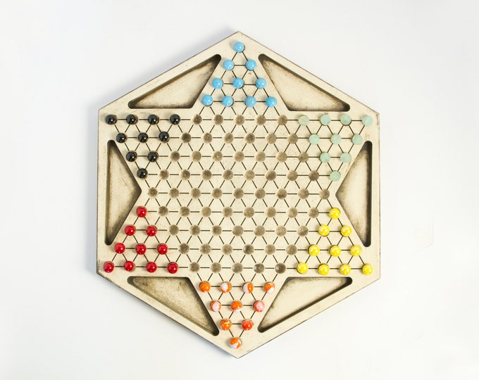 Beautiful Off-white Painted Chinese Checker Board