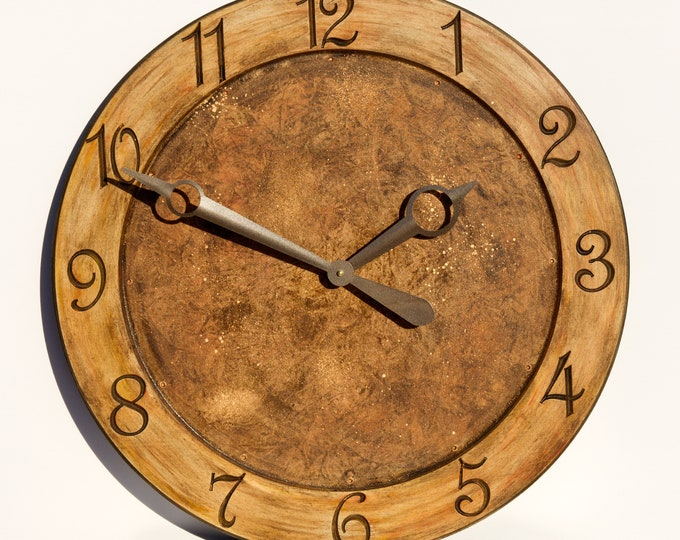 Bright Gold And Brown 24 Inch Circle Clock