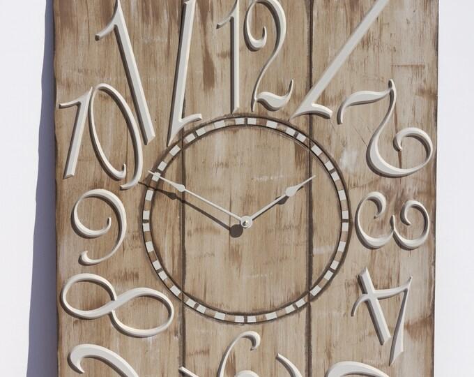 """Unique 24""""x30"""" Grey Brown Wall Clock"""