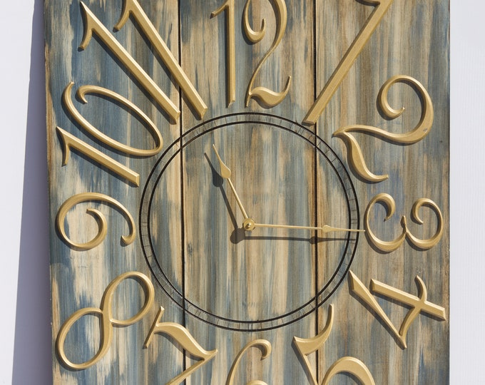 Sleek and Rustic Blue Grey and Gold 18x24 Inch Clock