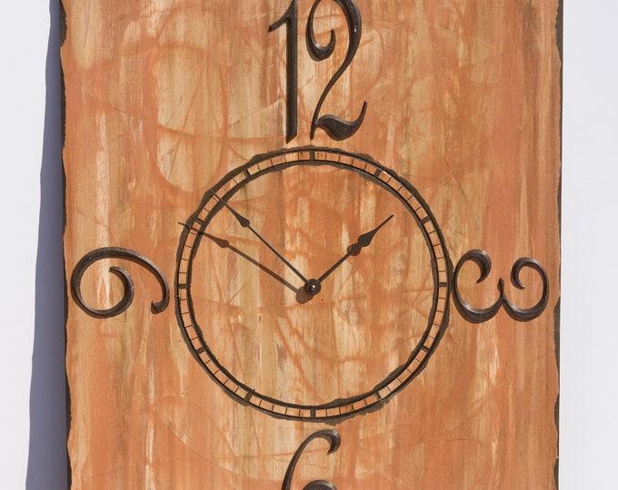 "Rustic 24""x30"" Copper Brown Wall Clock"