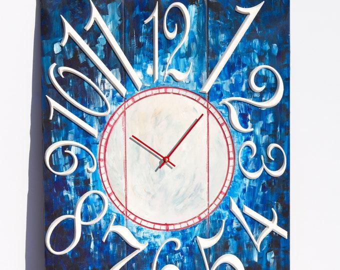 Blue and White Baseball Clock 18x24 Inch Wall Clock, Painted Wall Clcck, Wood Grain, Rustic Clock, Rustic Wall Clock