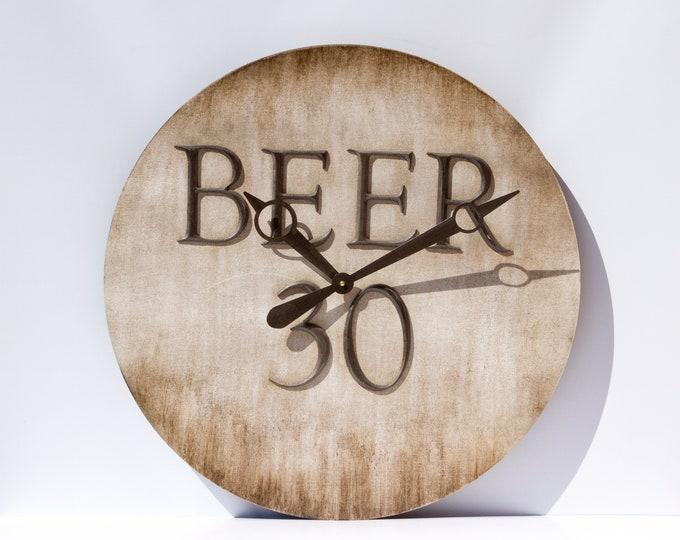 Rustic Brown 24 Inch Beer 30 Clock