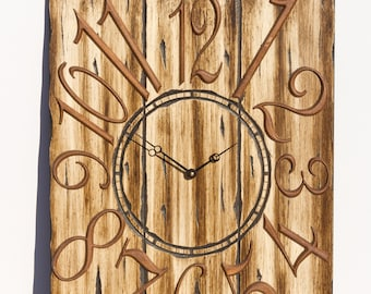 Unique Light Brown and Gold 18x24 Inch Wall Clock