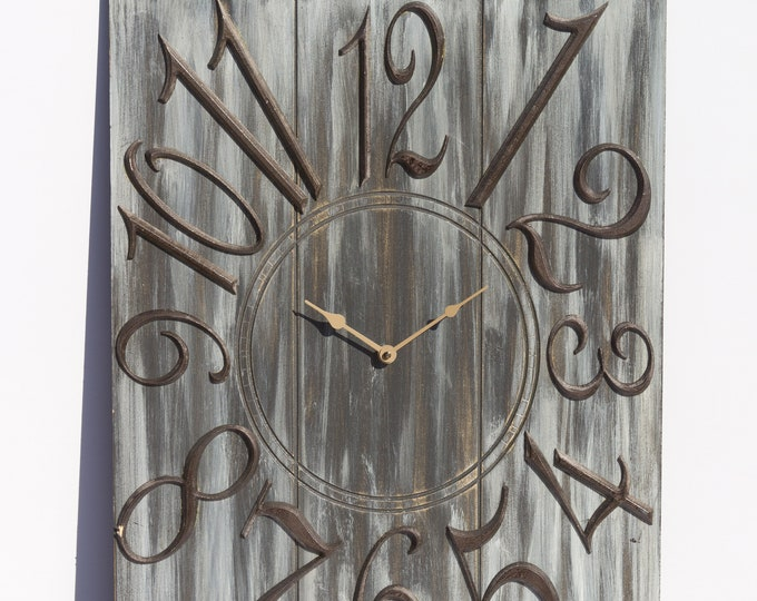 Grey 18x24 Inch Wall Clock, Painted Wall Clcck, Wood Grain, Rustic Clock, Rustic Wall Clock, Wall Art, Wall Decor, Oversized Clock