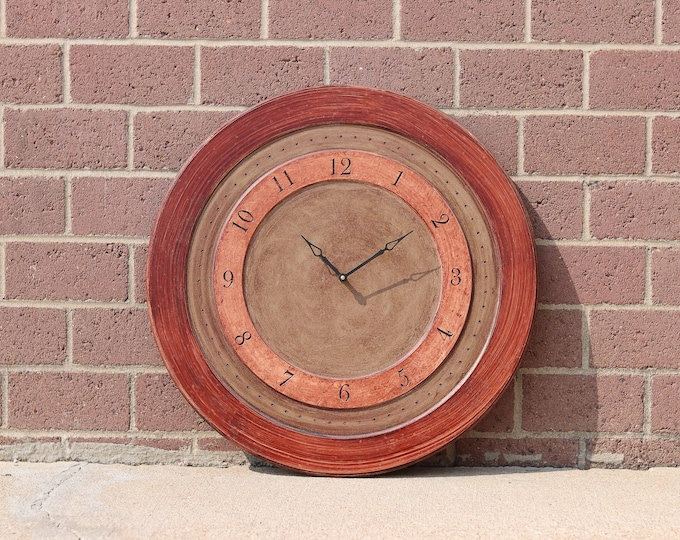 "24"" Warm Red and Brown Wall Clock"
