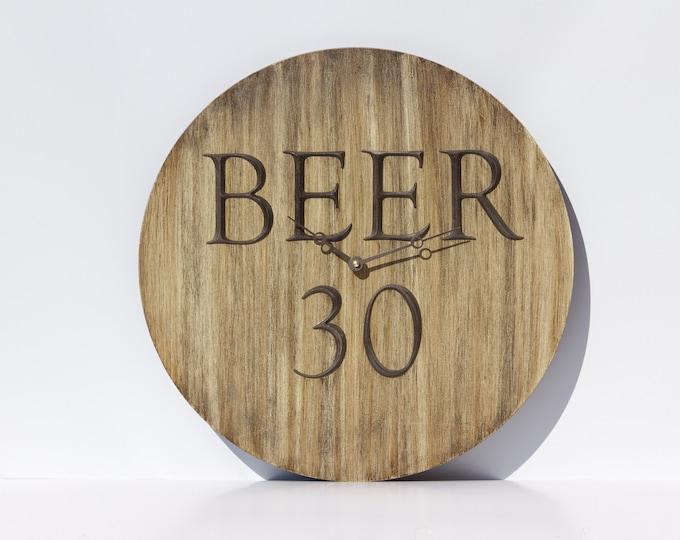 Modern Brown 18 Inch Beer 30 Clock