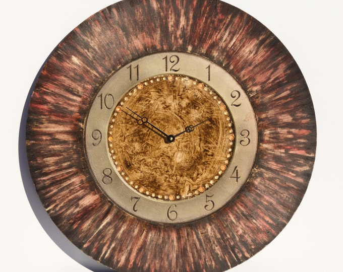 Unique Gold and Red Circle Wall Clock