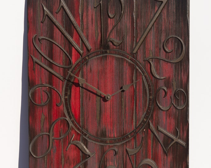 Dark Red and Black 18x24 Inch Wall Clock, Painted Wall Clcck, Wood Grain, Rustic Clock, Rustic Wall Clock