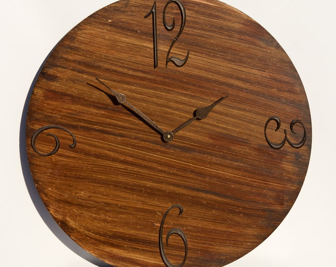 Dark Brown 24 Inch Circle Clock, Wood Clock, Painted Clock, Wall Clock, Unique Clock, Art, Rustic Clock, Wall Decor
