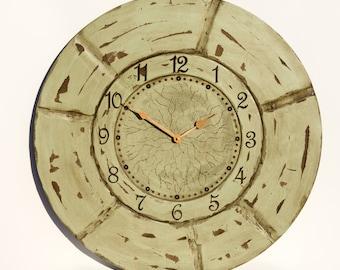"24"" Sea Green Wall Clock, Unique Clock, Forest Clock, Light Green Clock, Rustic Clock, Oversized Wall Clock, Large Wall Clock, Wall Decor"